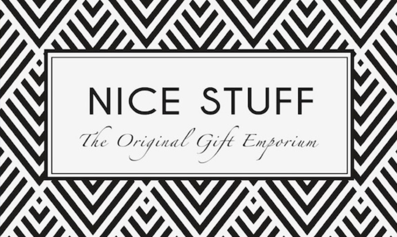 "Black and white chevron design logo - text in centre reads ""Nice Stuff the original gift emporium"""