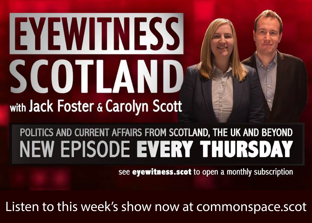 "advert for eyewitness scotland showing a man and a woman and test ""new episode every Thursday"""