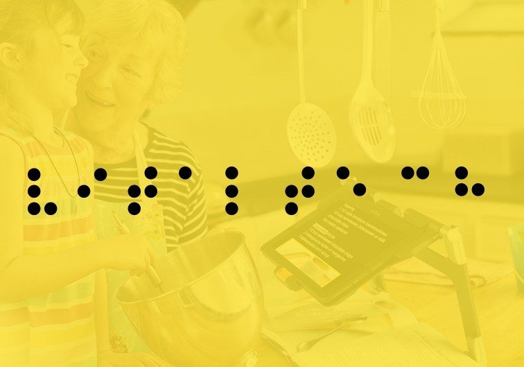 braille letters on a yellow background